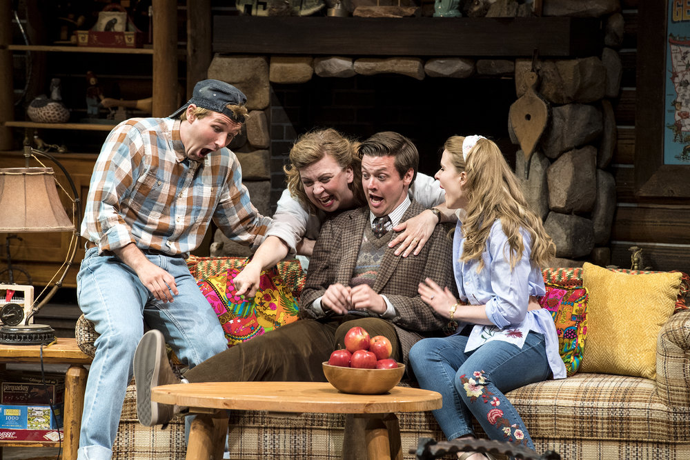 Rob Riordan (left) as Ellard Simms, Colleen Baum as Betty Meeks, Michael  Doherty as Charlie Baker, and Katie Fay Francis as Catherine Simms  inthe Utah Shakespeare Festival's 2018 production of  The Foreigner.  (Photo by Karl Hugh. Copyright Utah Shakespeare Festival 2018.)