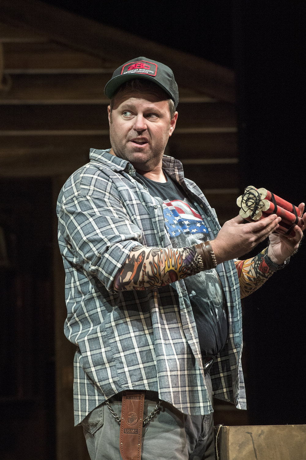 Russ Benton as Owen Musser inthe Utah Shakespeare Festival's 2018 production of The Foreigner.  (Photo by Karl Hugh. Copyright Utah Shakespeare Festival 2018.)
