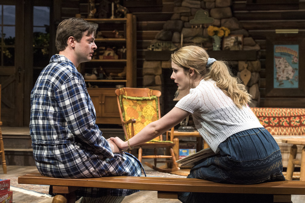 Michael Doherty (left) as Charlie Baker and Katie Fay Francis as  Catherine Simms in the Utah Shakespeare Festival's 2018 production of  The Foreigner.  (Photo by Karl Hugh. Copyright Utah Shakespeare Festival 2018.)