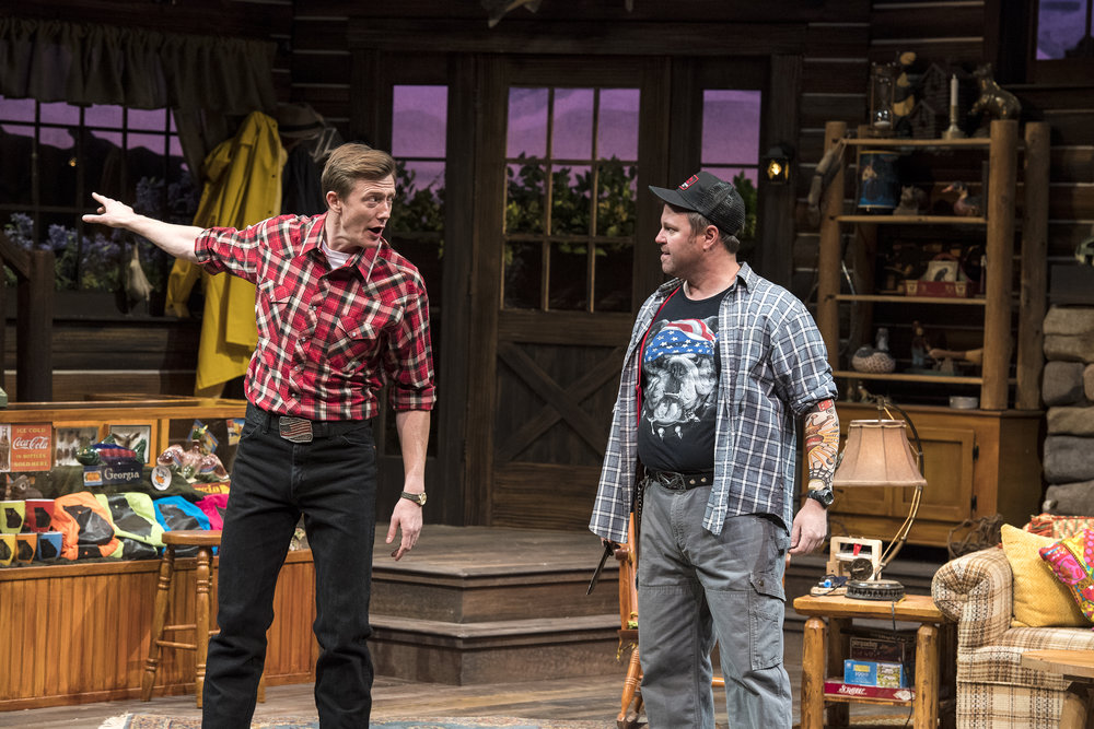 Josh Jeffers (left) as Rev. David Marshall Lee and Russ Benton as Owen  Musser in the Utah Shakespeare Festival's 2018 production of  The Foreigner.  (Photo by Karl Hugh. Copyright Utah Shakespeare Festival 2018.)