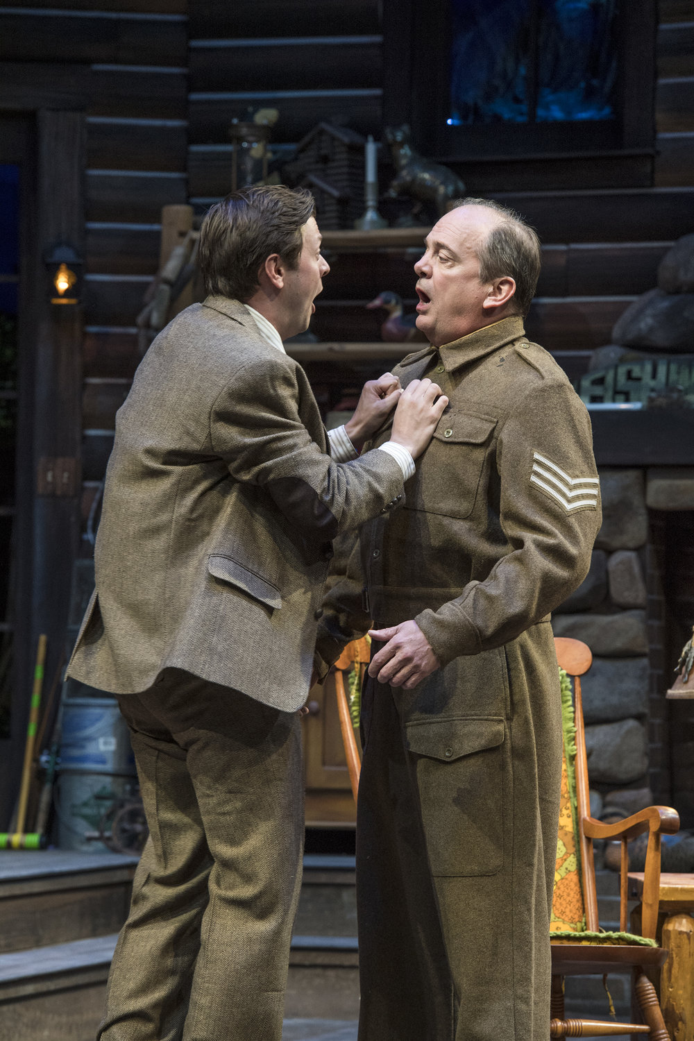 "Michael Doherty (left) as Charlie Baker and Chris Mixon as S/Sgt.  ""Froggy"" LeSueur inthe Utah Shakespeare Festival's 2018 production of  The Foreigner.  (Photo by Karl Hugh. Copyright Utah Shakespeare Festival 2018.)"