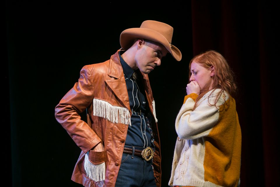 "Ashley Strand as The Cowboy and Marguerite Mitchell as Laurie in ""I'm  Not Rappaport"" at Redhouse Arts Center in Syracuse. Photo courtesy of  Genevieve Fridley."