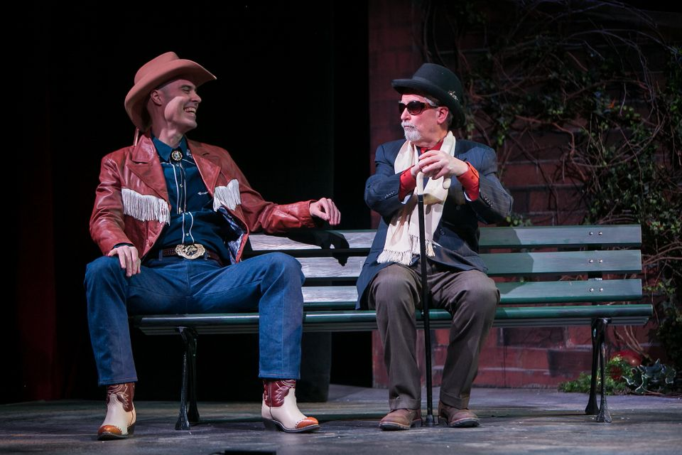 "The Cowboy played by Ashley Strand and Fred Grandy as Nat Mower in ""I'm  Not Rappaport"" at Redhouse Arts Center in Syracuse.  Photo courtesy of  Genevieve Fridley."
