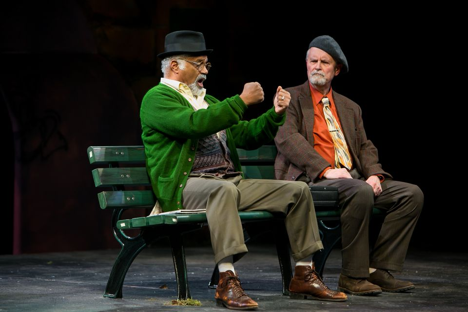 "Ted Lange as Midge Carter (left) Fred Grandy as Nat Moyer in ""I'm Not  Rappaport"" at Redhouse Arts Center in Syracuse. Photo courtesy of  Genevieve Fridley."