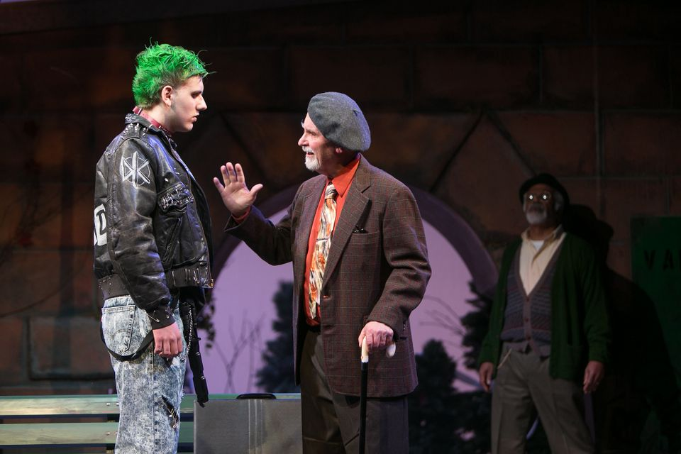 "Ryan Dunn as Gilly alongside Fred Grandy as Nat Mower in ""I'm Not  Rappaport"" at Redhouse Arts Center in Syracuse.   Photo courtesy of  Genevieve Fridley."