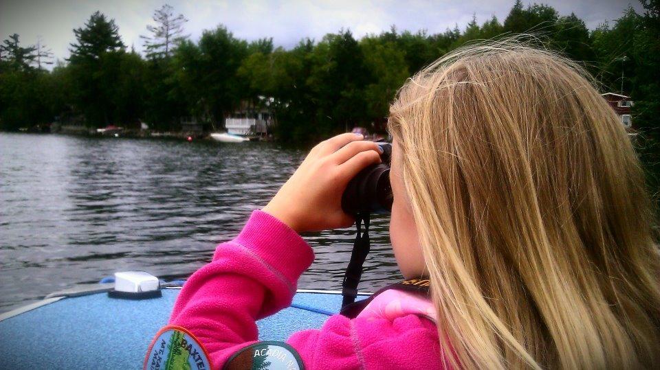Ainsley and binoculars