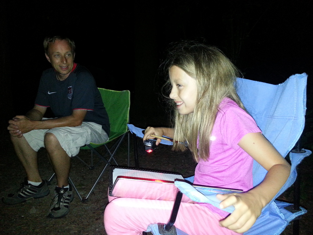 "Back at camp, Petunia wrote and recited her ""campfire ghost stories"" to me and Mark.  They were certainly the funniest scary stories ever."