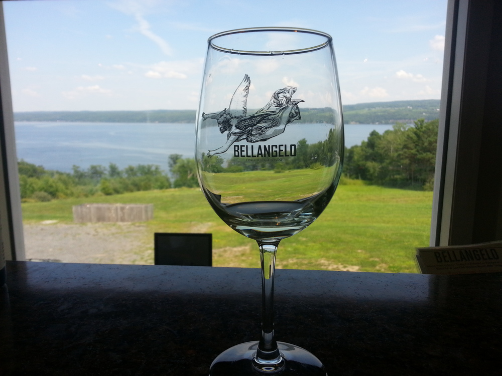 Bellangelo winery had their tasting bar set up so you looked out over the lake.