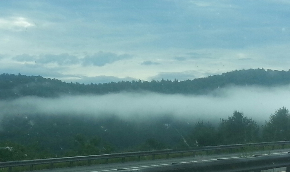 Cloud level driving in the aptly named Green Mountains