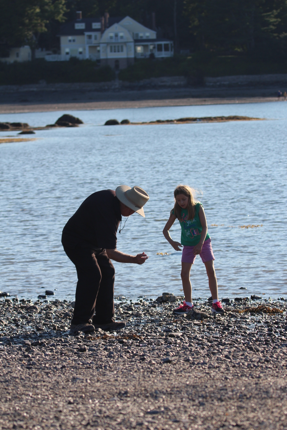 So she got her next lesson of the day...this time a lesson on rock skipping from Gramps Fuzz!