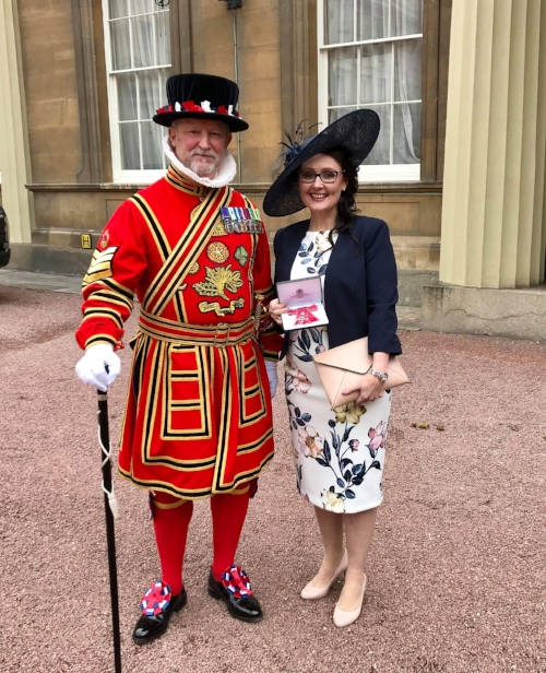Sara pictured earlier this year at Buckingham Palace on the day she received her MBE (awarded by Queen Elizabeth II for services to bereaved families). The charity she runs is called SiMBA (Simpson's Memory Box Appeal).