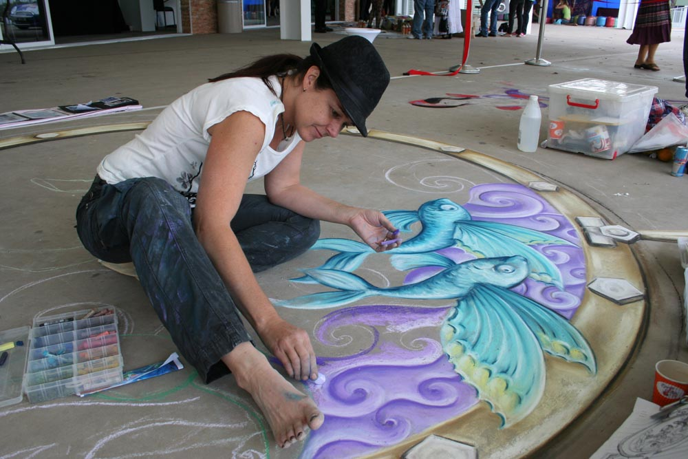 Artist Amelia Batchelor with a previous work
