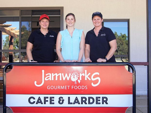 Jamworks owners Steph Ingall and Christine Hood with Charlotte Bush.