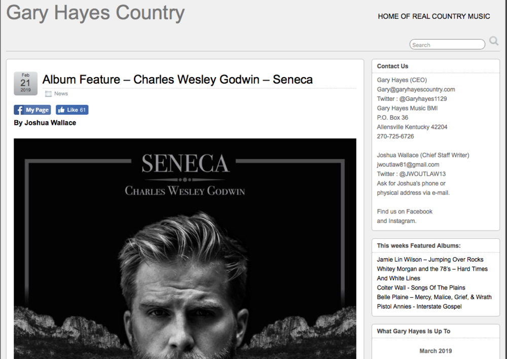 Album Feature By Gary Hayes Country