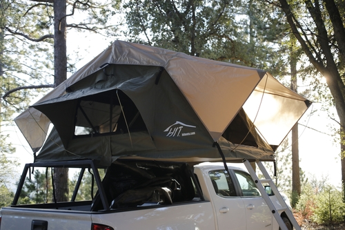 d51adb529b Jalama rooftop tent mounted on Hinterland Industries bed cage sitting on a  2016 chevy colorado photo