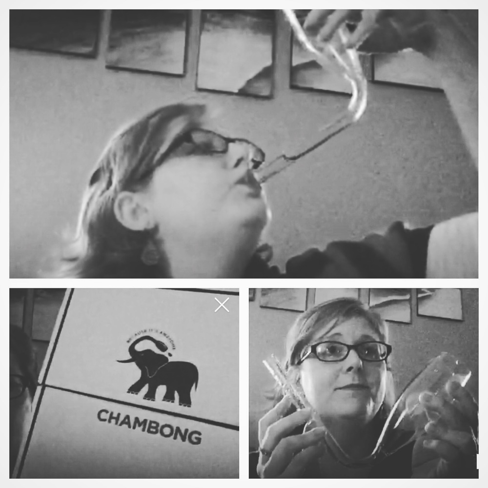 Emily unboxed her chambong and tried it out on periscope a few weeks ago. Lesson learned: It's much easier to chug water!