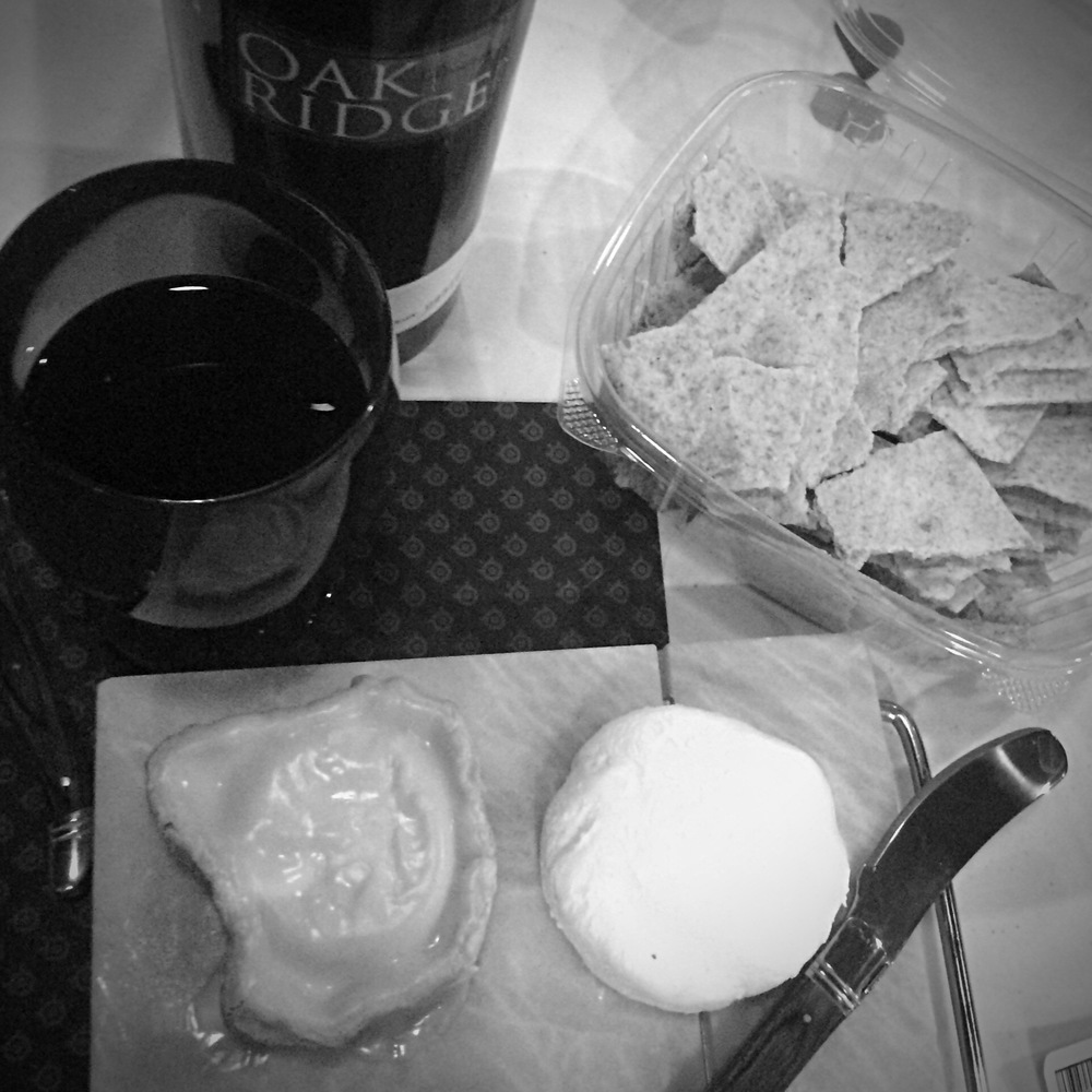 Our fancy-schmancy spread of goat cheese and zinfandel
