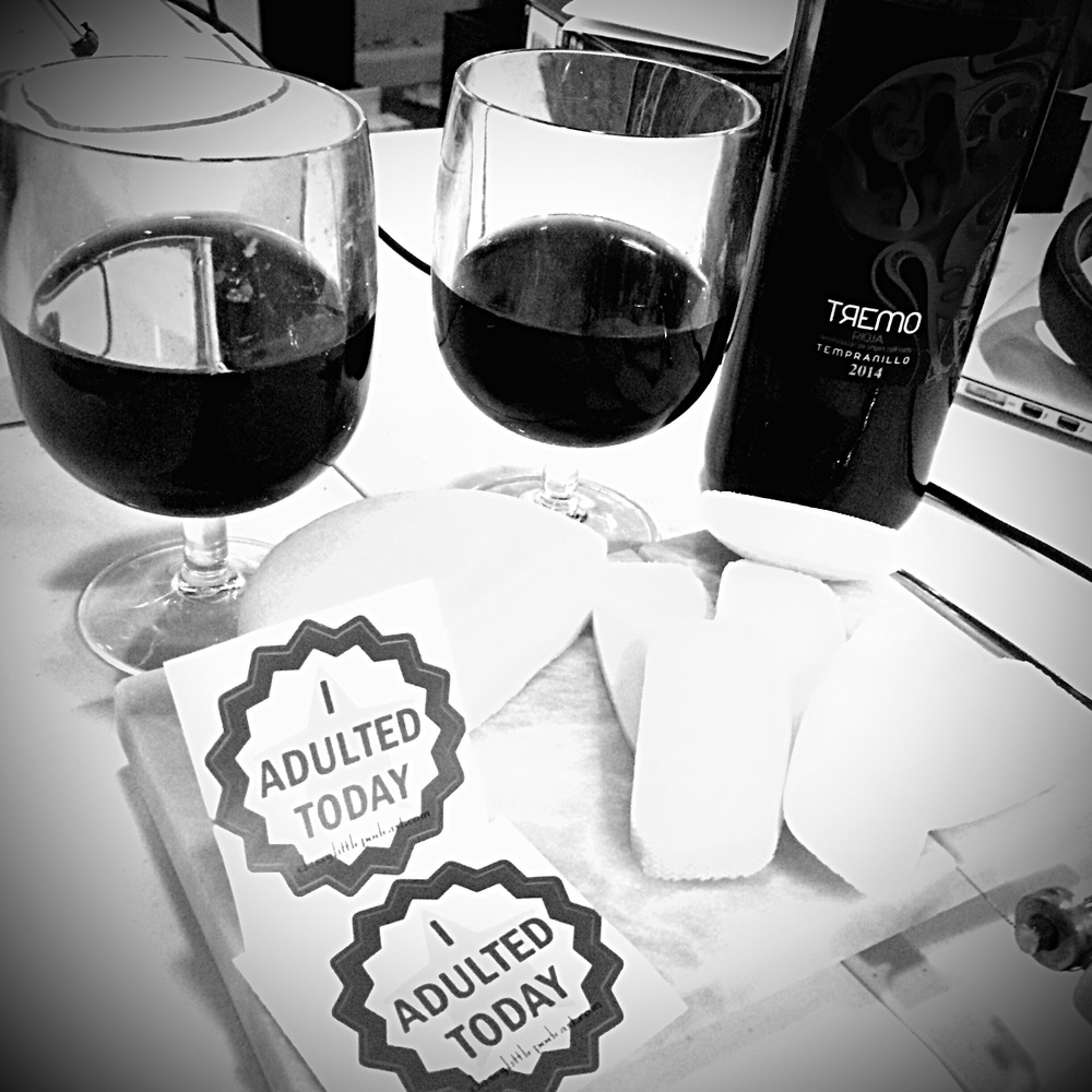 We adulted today! We put our wine in actual wine glasses, and not just in coffee mugs!