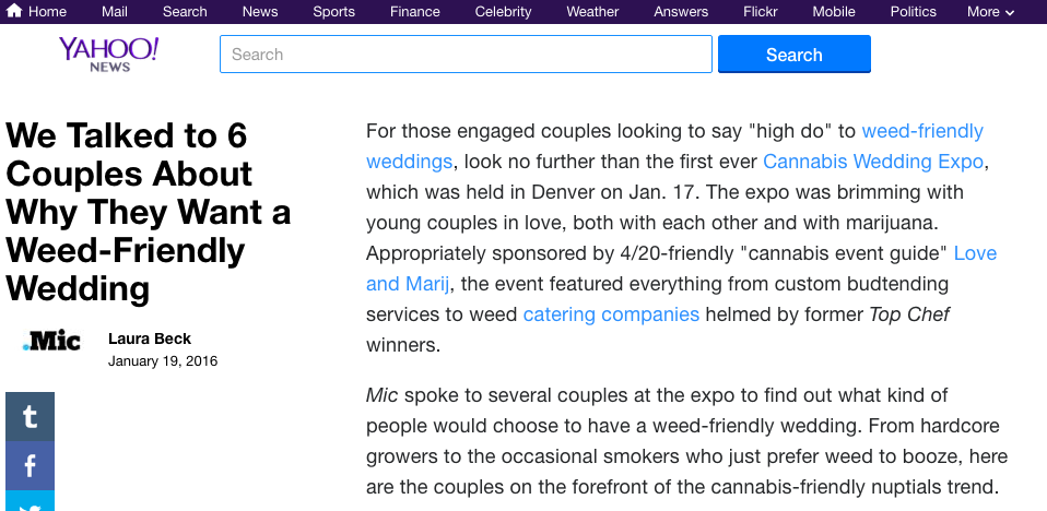 Yahoo News Love and Marij