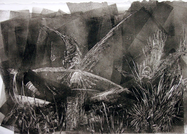Nest , monoprint, 2001