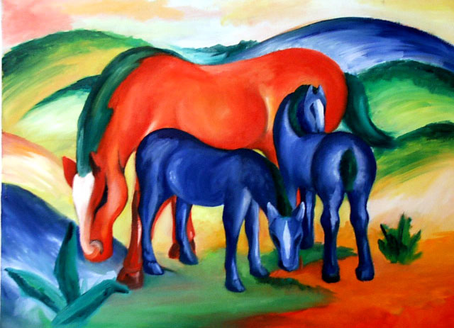 After Franz Marc , oil on canvas, 2005