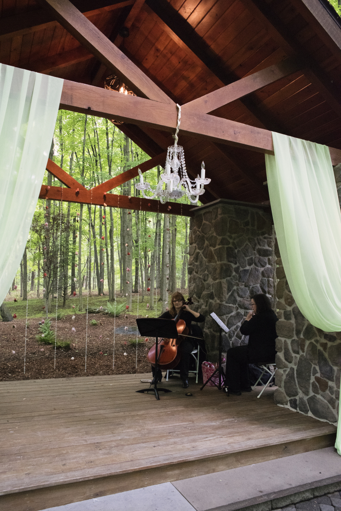 Our string and flute duo performing for a beautiful summer wedding at Stroudsmoor Country Inn.  Photo courtesy of  Michelle Holt Photography