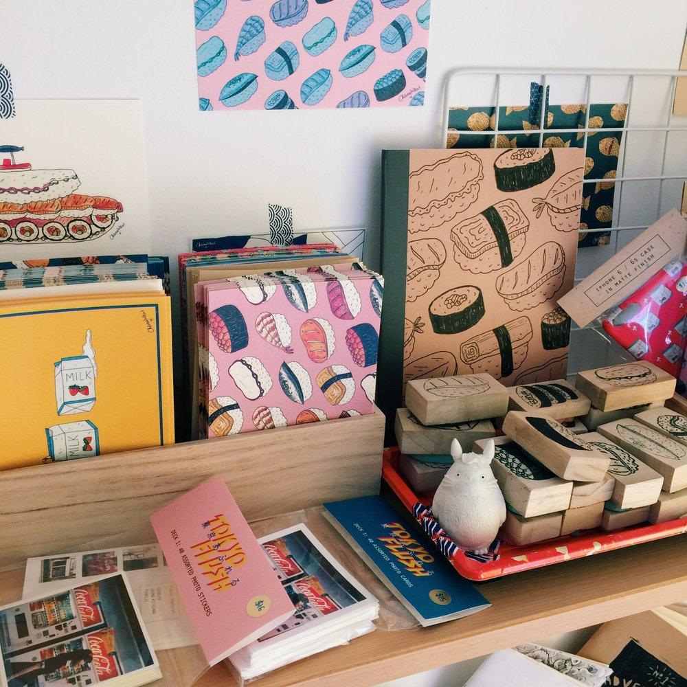 A peek at Chirashi Bomb's studio shelf