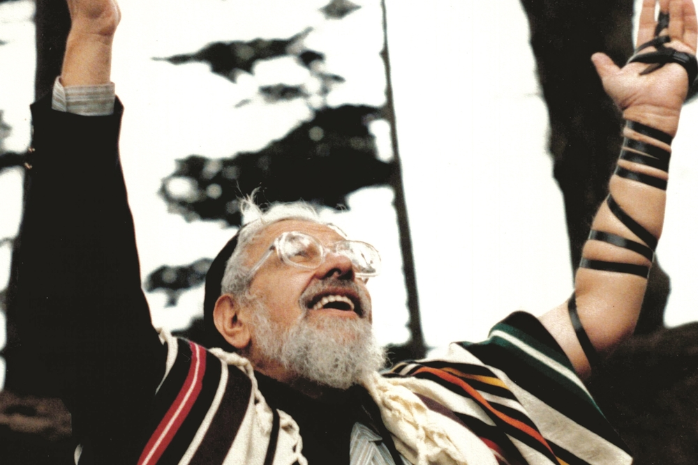 Rabbi Zalman Schachter-Shalomi  in celebratory prayer. Photo courtesy of Yehudit Goldfarb.