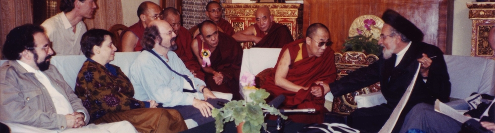 Rabbi Zalman Schachter-Shalomi dialoguing with the 14th Dalai Lama in Dharamsala, India, a meeting chronicled in the bestselling book,  Jew in the Lotus.