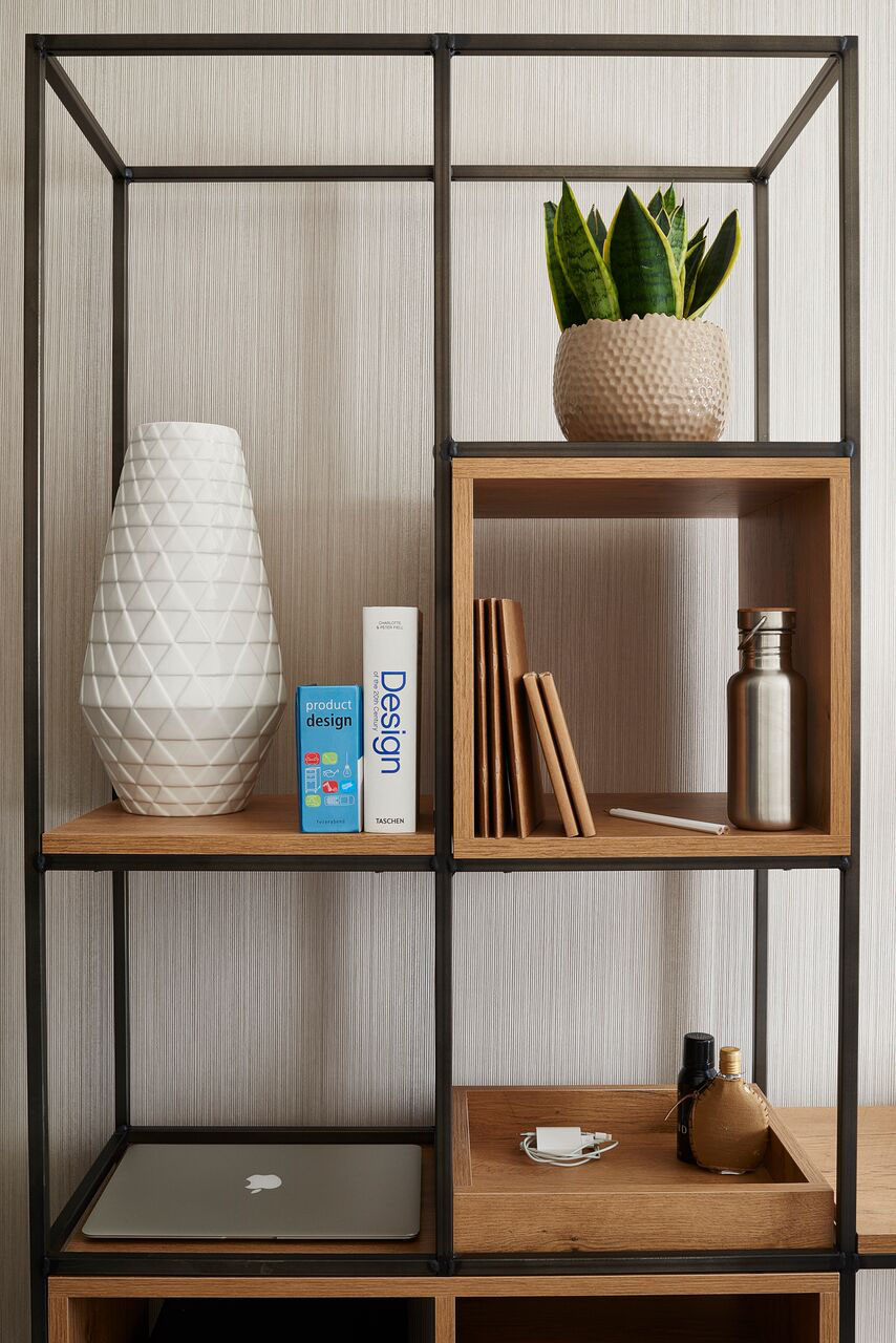 Inspiration cabinet  / We put a lot of effort in designing the best cabinet for our guests. The open frame keeps the room spacious while providing sufficient storage space and the integrated 'bowl' helps you to never loose your keys again.