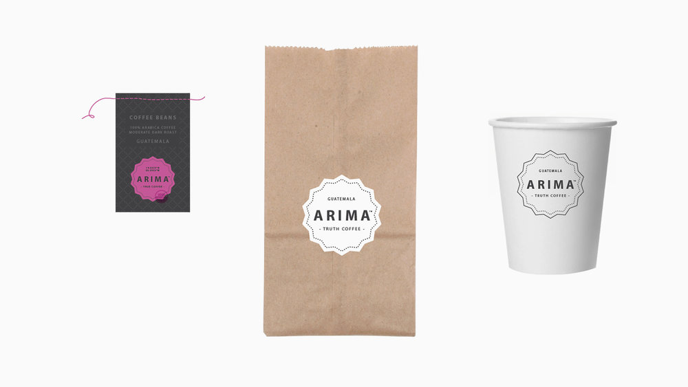 Portfolio / Design overview of Arima Café brand items.