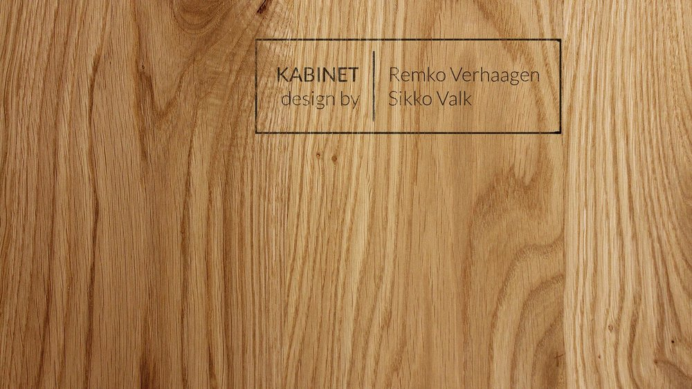 Details   / Every wood component is stamped and e ach KABINET has its production number lasered on a leather tab.