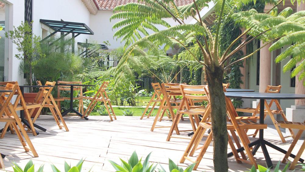 Garden  / View into the lush Guatemalan style patio garden.