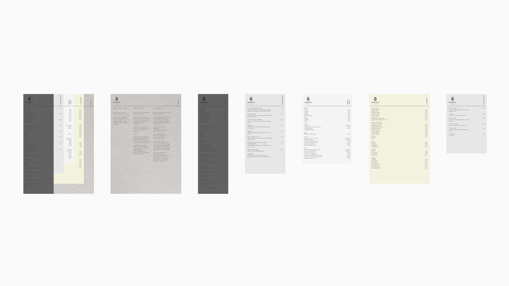 Menu  / Modular sheets: Good storytelling, drinks, breakfast, beer/wine, liquids and cocktails.