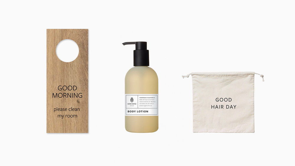 Good stuff  / Do-Not-Disturb sign, (Guatemalan) soap packaging and hair dryer bag.