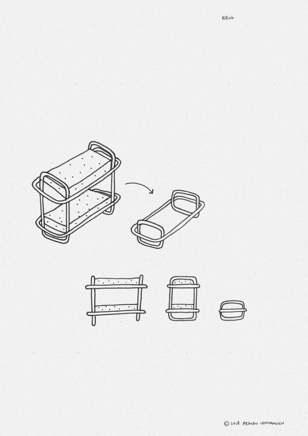 BB06 BUNKBED  / Modular signature design piece for BunkBed.