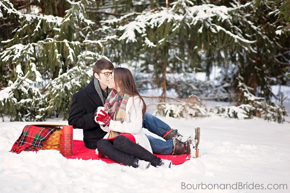 Frankfort Engagament Picnic Snow | Kentucky Wedding Photographers | Bourbon & Brides Kentucky Wedding Photography