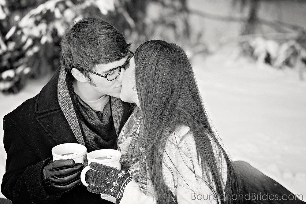 Kissing Couple Snow | Kentucky Wedding Photographers | Bourbon & Brides Kentucky Wedding Photography
