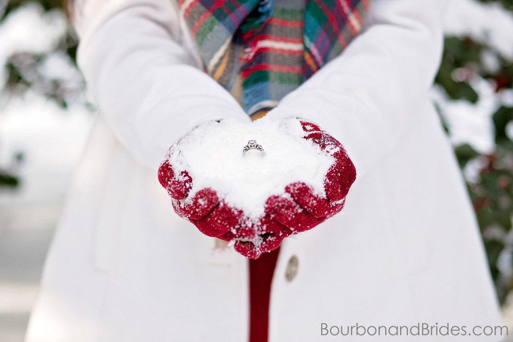 Engagement ring in snow | Kentucky Wedding Photographers | Bourbon & Brides Kentucky Wedding Photography