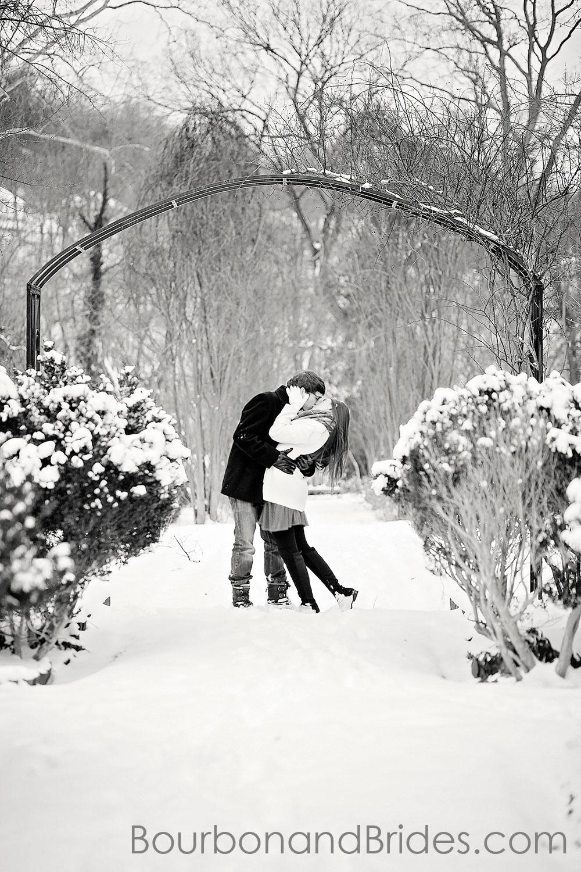 Love kiss in snow engagement | Kentucky Wedding Photographers | Bourbon & Brides Kentucky Wedding Photography