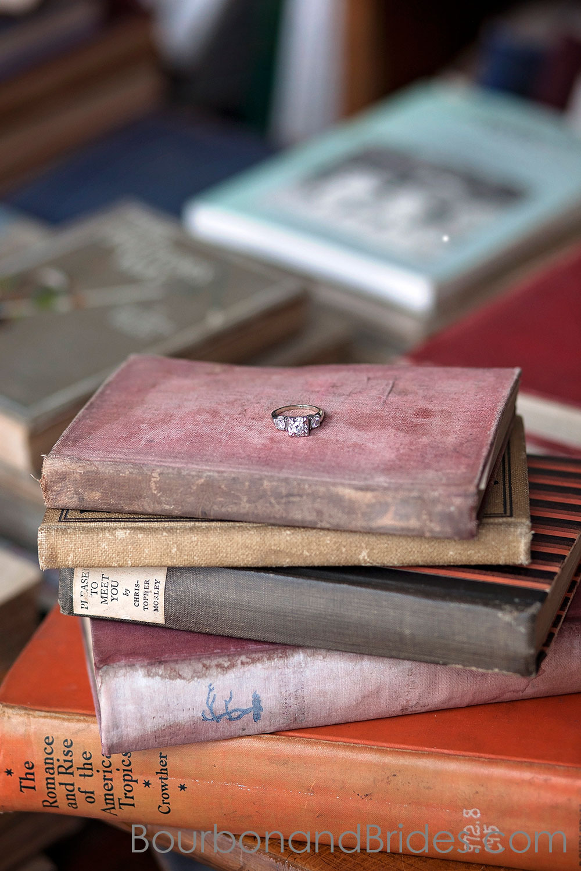 Ring on old book | Kentucky Wedding Photographers | Bourbon & Brides Kentucky Wedding Photography