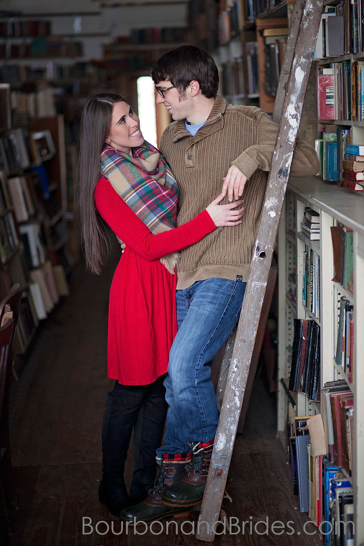 Couple On ladder Poor Richard's | Kentucky Wedding Photographers | Bourbon & Brides Kentucky Wedding Photography