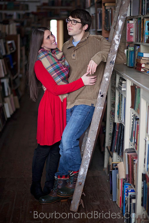 Engagement photos in bookstore | Kentucky Wedding Photographers | Bourbon & Brides Kentucky Wedding Photography
