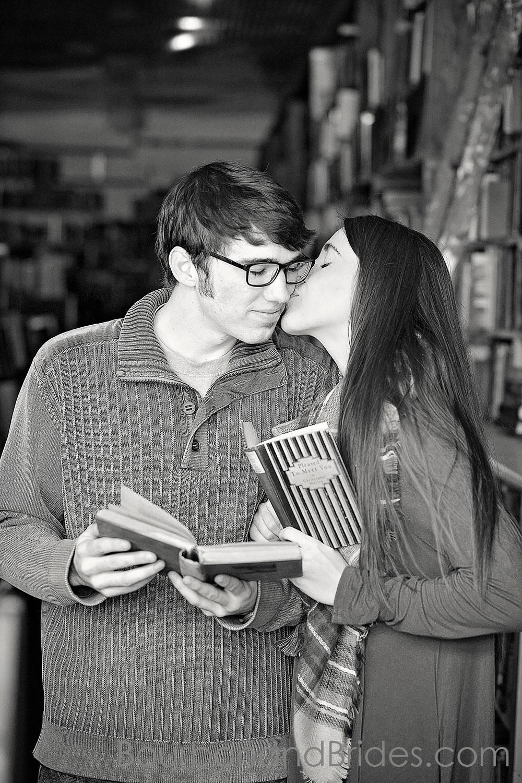 Kissing book engaged couple | Kentucky Wedding Photographers | Bourbon & Brides Kentucky Wedding Photography