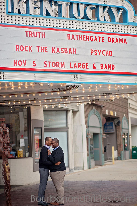 Kentucky Theater Engagement | Lexington Gay Wedding | Bourbon and Brides Kentucky Wedding Photography | Kentucky Wedding Photographer
