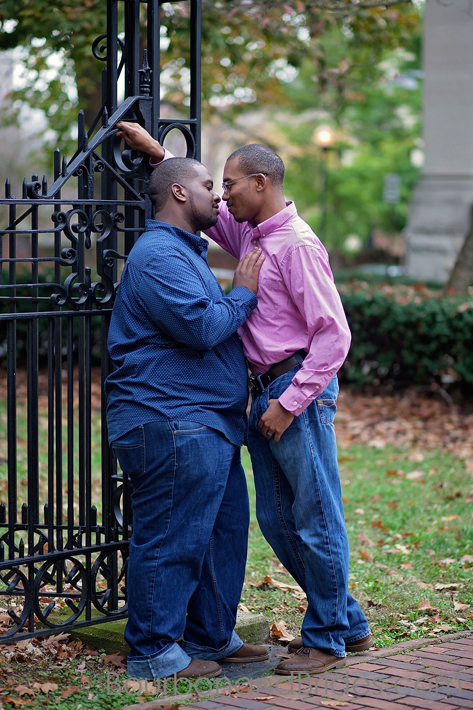 Kiss at Gate | Gratz Park Engagement | Lexington Gay Wedding | Bourbon and Brides Kentucky Wedding Photography | Kentucky Wedding Photographer