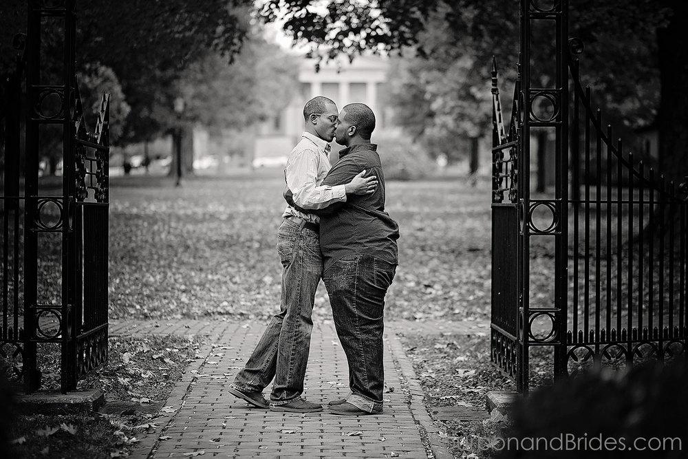 Gate kiss | Gratz Park Engagement | Lexington Gay Wedding | Bourbon and Brides Kentucky Wedding Photography | Kentucky Wedding Photographer