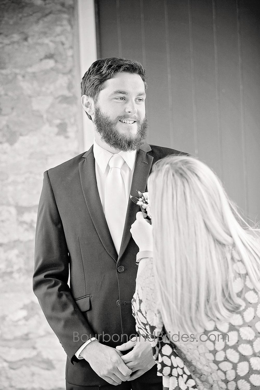 Groom smiling   Walnut Hill Church   Kentucky Wedding Photographer   Bourbon & Brides Kentucky Wedding Photography