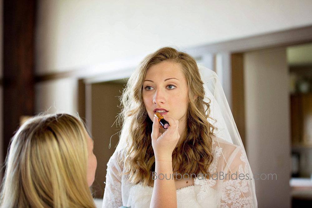 Bride makeup   Walnut Hill Church   Kentucky Wedding Photographer   Bourbon & Brides Kentucky Wedding Photography