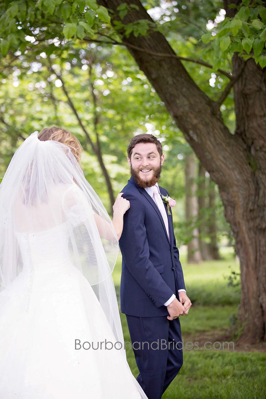 First Look Groom   Walnut Hill Church   Kentucky Wedding Photographer   Bourbon & Brides Kentucky Wedding Photography
